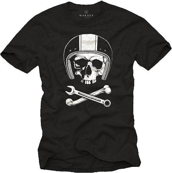 Tee Shirt Originaux M/écanicien Casque Moto avec Skull