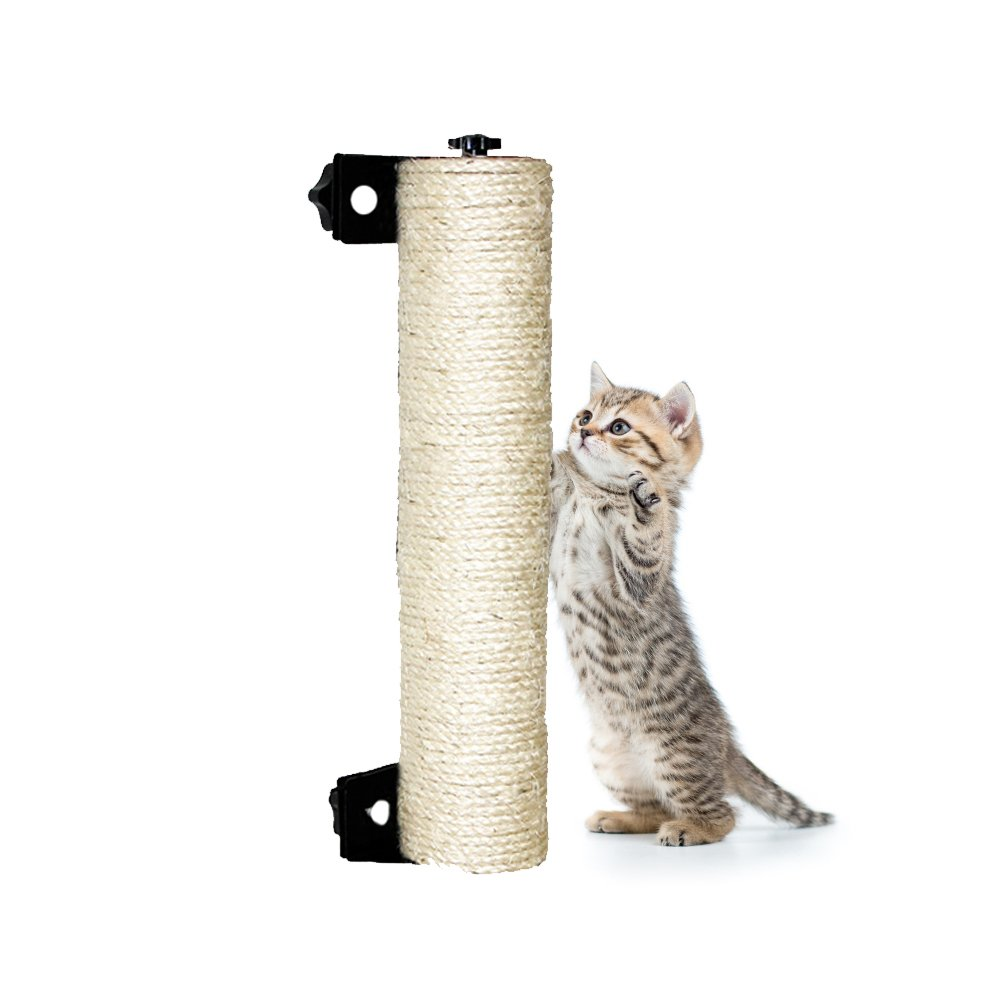 LUCKSTAR Cat Scratching Post - 13.8'' Wall Mounted Sisal Scratching Post for Cat Cage Grinding Claws Cat Toy Cat Accessories Exerciser for Cats or Kitty (White) by LUCKSTAR