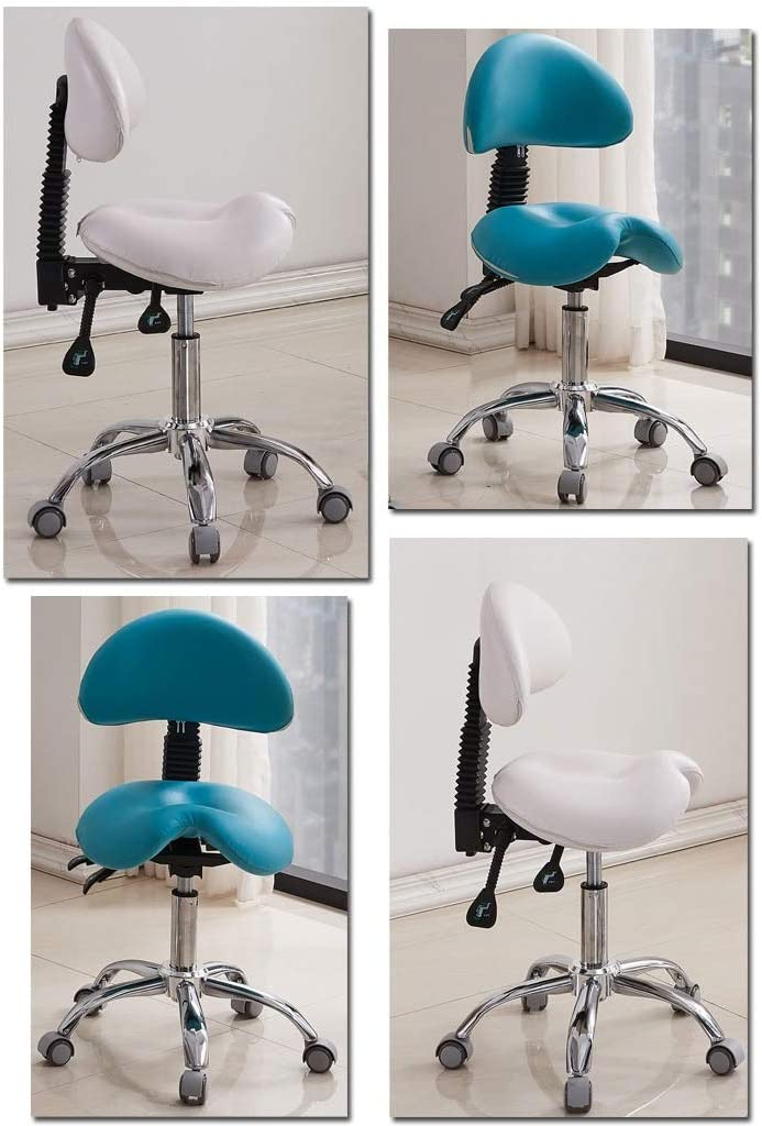 Lwjjby Zadel Salon Massage Stoel met Rugleuning Lift Ronde stoel Ergonomische Kruk -Beauty kruk Werkkruk blauw