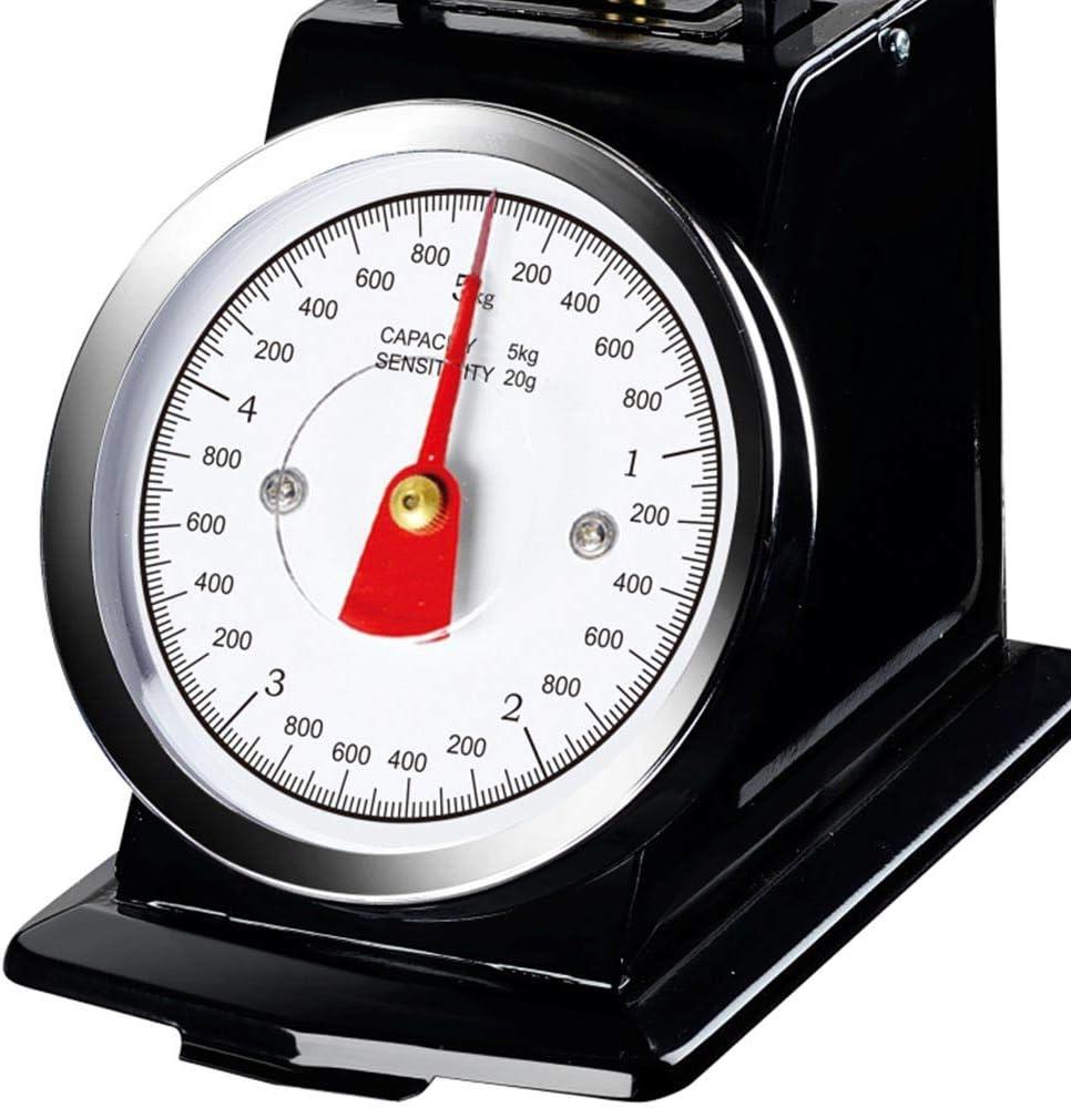 Grigio Bakaji Bilancia Meccanica Analogica da Cucina Atlas in Metallo con Ciotola Cromata Design Vintage Capacit/à Massima 5Kg Accessori Per Cucinare