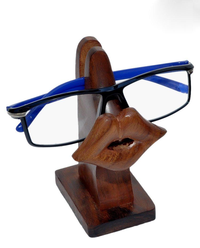 bouche et moustaches Bois dense Stylla London Support de lunettes et lunettes de soleil en bois en forme de nez Face