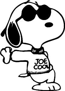 "So Cool - Snoopy - Joe Cool - Vinyl 5"" tall (Color BLACK) decal laptop tablet skateboard car windows stickers"