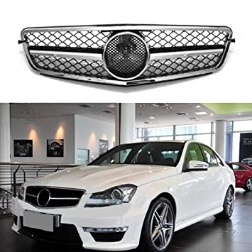 MOTORFANSCLUB Parrilla Parachoques Delantero Parrilla Plateada Malla Insertar Rejilla para Mercedes Benz Clase C 08-14 W204 Grill C200 C250 C300 C350: ...