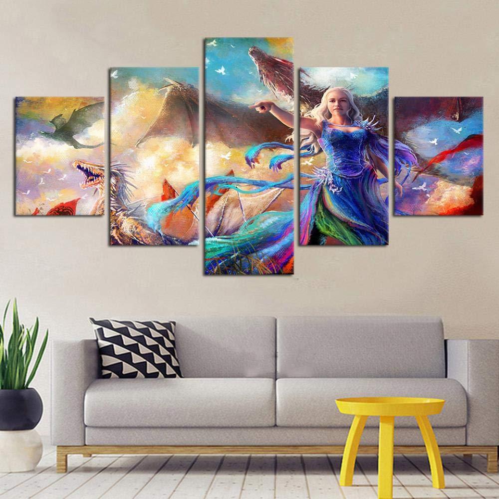 cartel Lienzo 5 piezas pintura arte -200 x 100 cm // 78,8 x 39,4 -Decoraci/ón para el hogar TV modular Reproducir p/óster abstracto Lienzo modular d DXZJN Lienzo arte de la pared foto marco