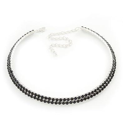 Avalaya 2-Row Montana Blue Austiran Crystal Choker Necklace (Silver Plated) xavuQqNUw