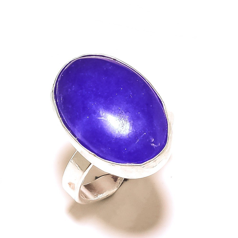 Gorgeous Sizable Blue Dyed Sapphire Sterling Silver Overlay 8 Grams Ring Size 8 US