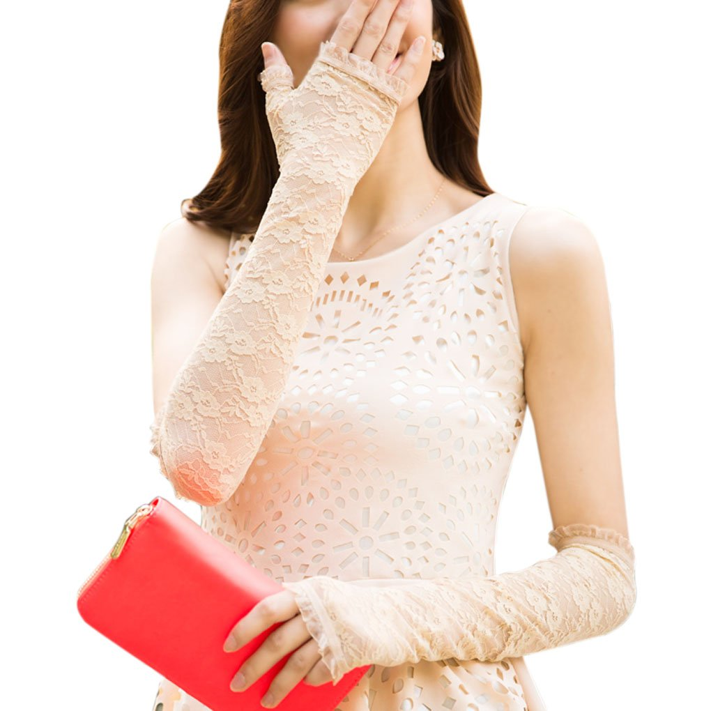 Womens Sexy Lace Sun UV Protection Long Driving Arm Sleeve Wedding Bridal Gloves