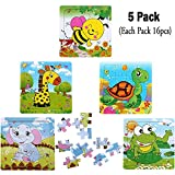 Kids Puzzles Toys for 2-4 Ages, Wooden Animals Educational Puzzle, 5 in 1 Pack for Elephant Frog Tortoise Giraffe Bee Set 16 Pieces Autism Children Puzzles Learning Toys ( Bright Colors )