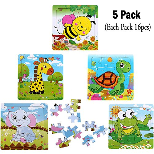Kids Puzzles Toys for 2-4 Ages, Wooden Animals Educational Puzzle, 5 in 1 Pack for Elephant Frog Tortoise Giraffe Bee Set 16 Pieces Autism Children Puzzles Learning Toys ( Bright ()