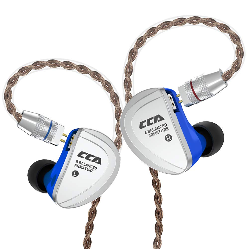 CCA C16 in-Ear Monitors, 8 Balanced Armatures Units per Side Customized HiFi IEM Wired Earphones Earbuds Headphones with Detachable Cable 2Pin for Musician Audiophile Blue Without mic