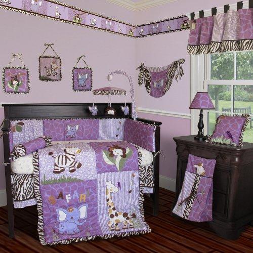 SISI Baby Girl Boutique - Safari 14 PCS Crib Bedding Include Music Mobile -