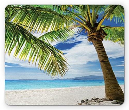 Lonely Palm Tree Mouse Pad by Ambesonne, Sandy Beach Isolated Philippines Hot Sunny Travel Destination, Standard Size Rectangle Non-Slip Rubber Mousepad, Green Coconut - Philippines Sunnies