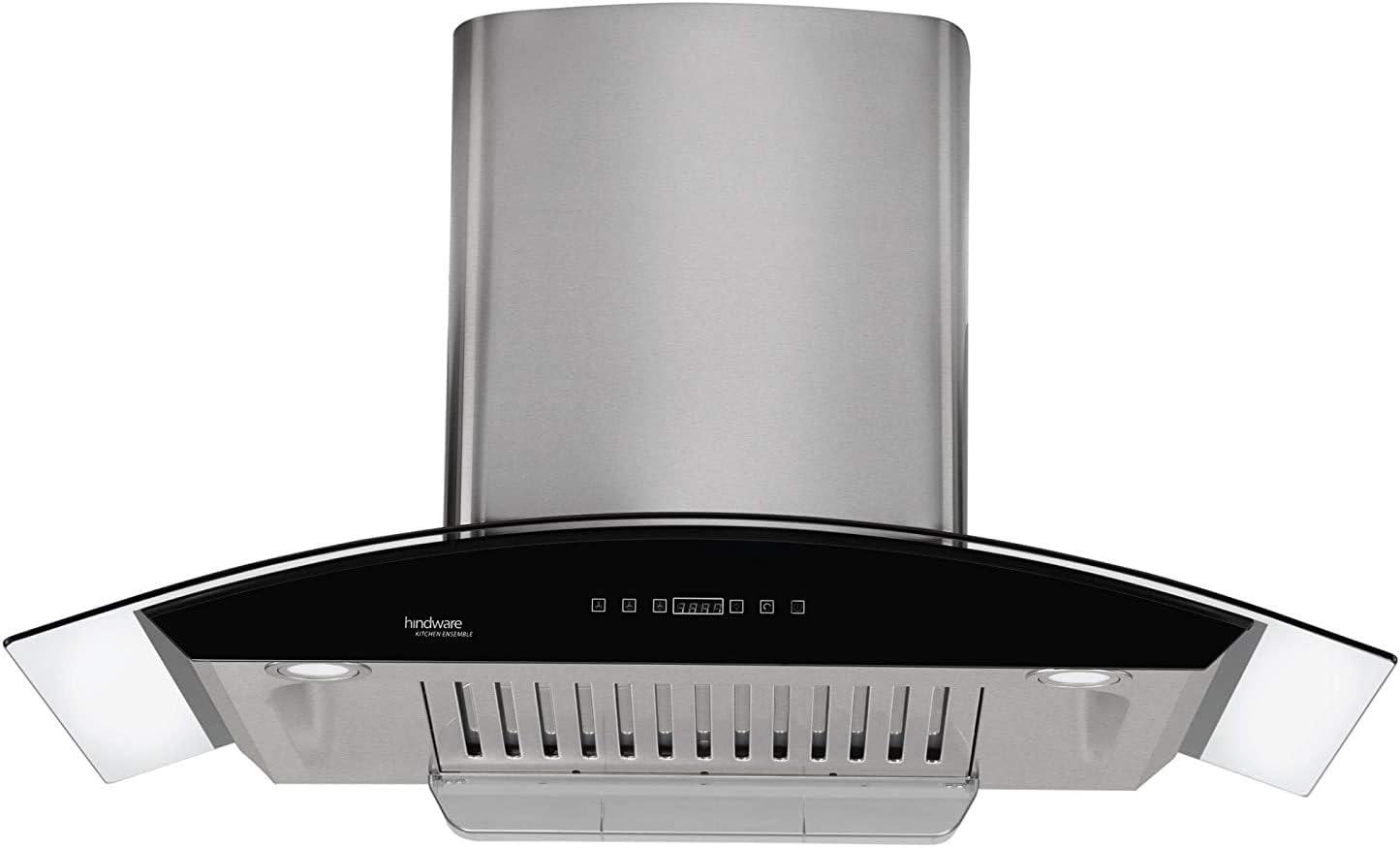 Hindware 90cm 1200 m3/hr Auto Clean Chimney (Nevio 90, 1 Baffle Filter, Steel/Grey)