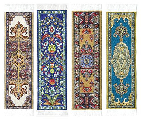 Oriental Carpet Bookmarks #3 - Authentic Woven Carpet (Set of 4)