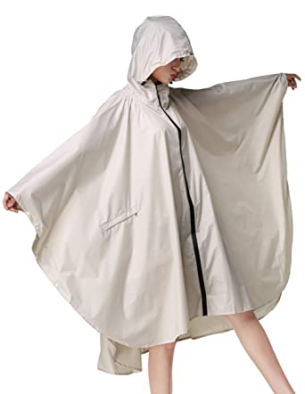 34957322061 Buauty Ladies Fashionable Rainwear Hooded Water Proof Rain Jackets Poncho  Packable Beige  Amazon.co.uk  Clothing