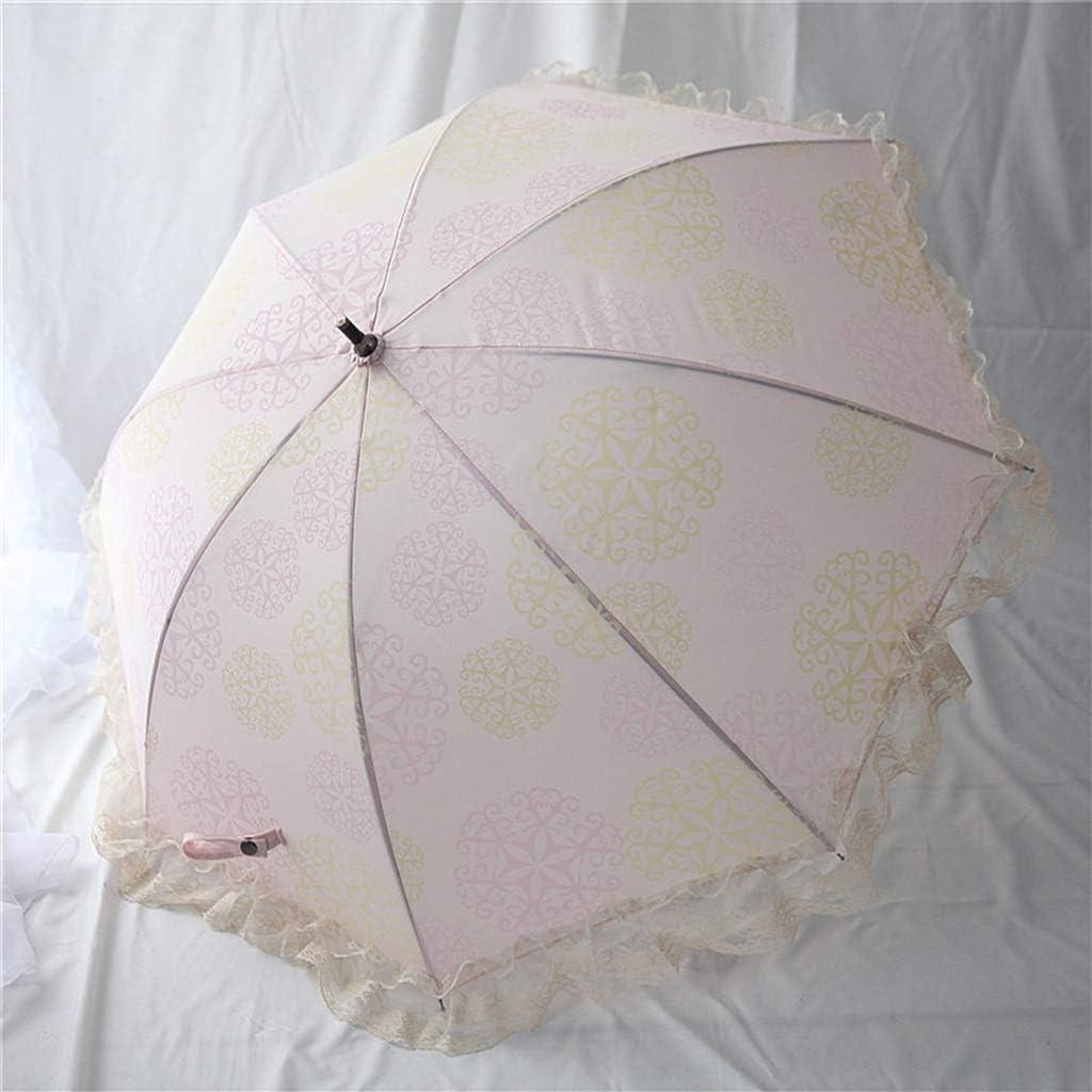 Lace Long Handle Umbrella 8 Bone Umbrella Stand Retro Wind Wooden Curved Handle Rain and Rain Dual Purpose Umbrella