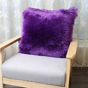 GroB Pillow Doppelseitige Nachahmung Wollkissen Sofakissen Haariges Kissen  Heimkissen Mit Kern Modell Zimmer Dekoration Weiß Grau Cameo