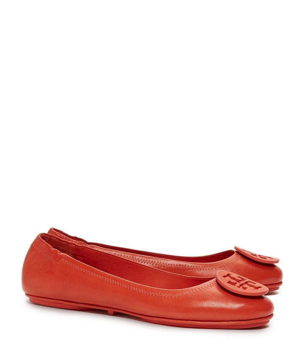 Tory Burch Poppy Orange Minnie Travel Ballet Flats (7 M US)