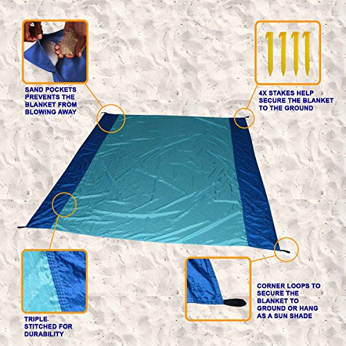 [Pack of 10] Sand Proof Beach Picnic Blanket of Parachute Nylon, works as Shade Tarp Sheet for your Sandless travel escape perfect for drying towel not a black microfiber waterproof or resistant mat by Spencer&Webb (Image #5)
