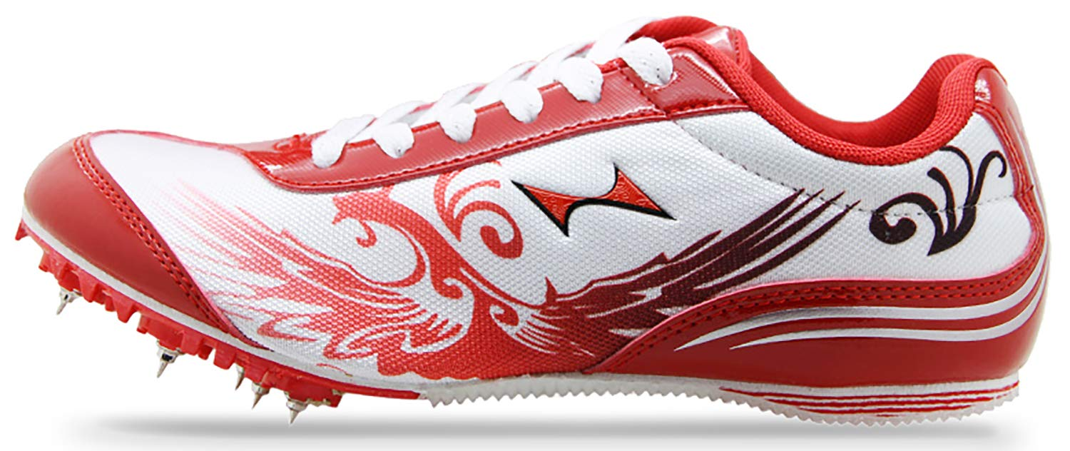 HEALTH Womens Sprint Track & Field Shoes Spike Running Mesh Breathable Professional Sports Shoes 181 Red