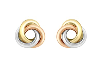 38bdd49fe Carissima Gold 9 ct 3 Colour Gold 8 mm Knot Stud Earrings: Amazon.co.uk:  Jewellery