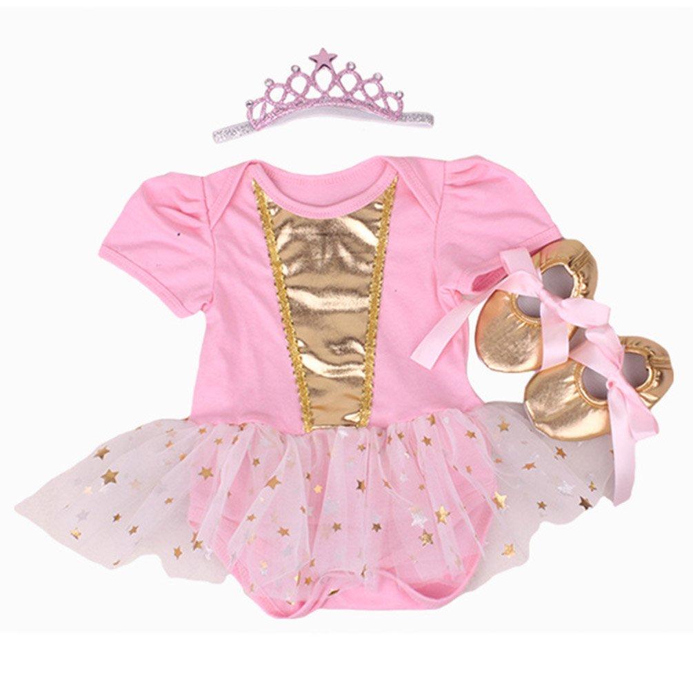 Faldas de Tutú Para el Vestido de Cumpleaños de Muñecas de 20-22 inch Ropa de Bebé Niña Oro rosa NPK
