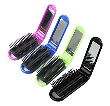 05e0072148cc Amazon.com   LOUISE MAELYS 4pcs Colorful Portable Folding Hair Brush with Mirror  Compact Pocket Hair Comb for Travel Gift Idea   Beauty