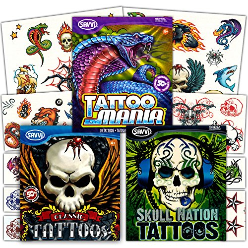 Savvi Classic Tattoos Party Pack (3 Full-sized Bags ~ 125 Tattoos) (Kids Biker Costume)