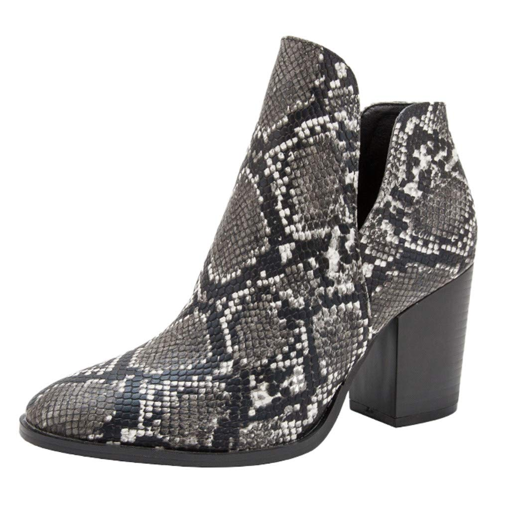 POPNINGKS Women's Fashion Pointed Toe Chunky Heeled Snakeskin Ankle Boots Black by POPNINGKS