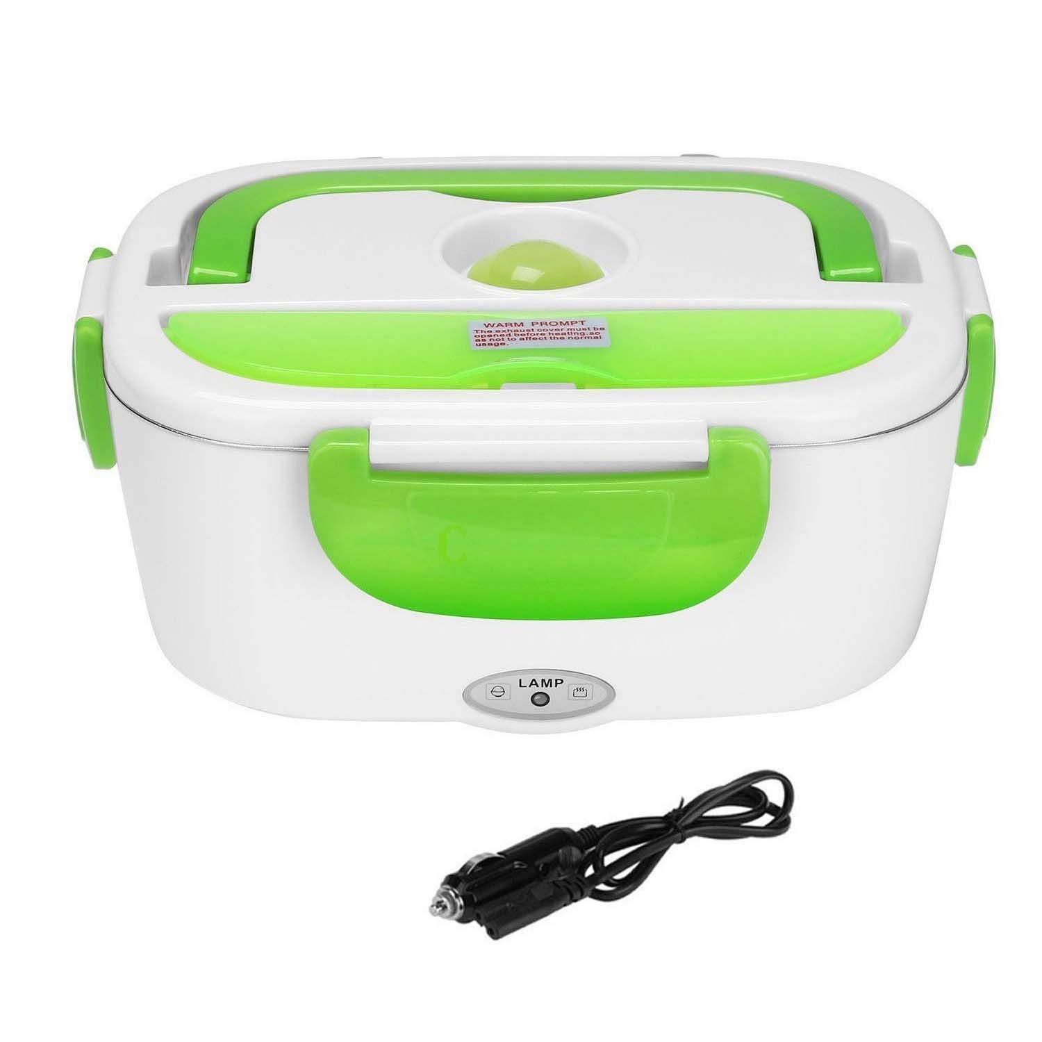 Vmotor Electric Lunch Box Food Heater 12V 40W Car-use Charging Adapter Portable Lunch Heater with Removable 304 Stainless Steel Container Food Grade Material(Green)