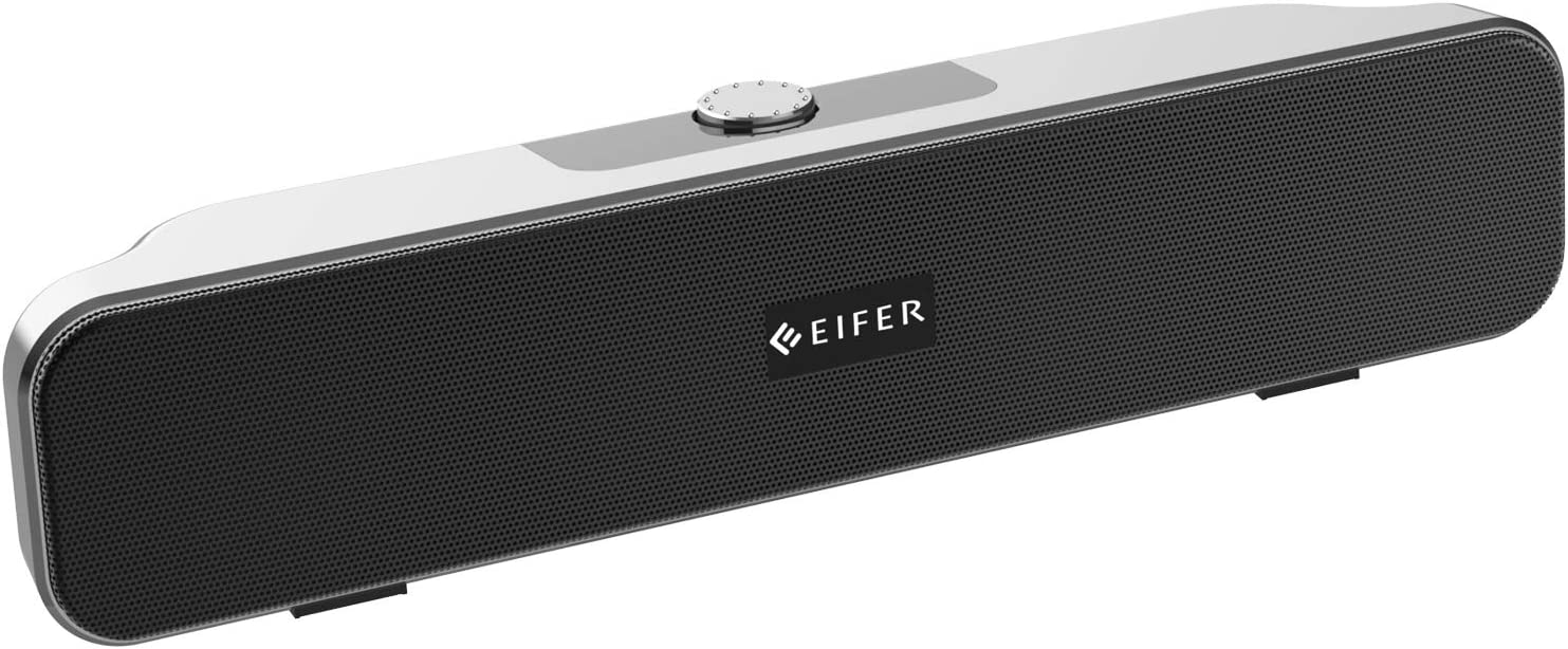 Computer Speakers, EIFER Wired Computer Sound Bar, Bluetooth 5.0 Wireless Mini USB Sound bar, Stereo USB Powered Mini Soundbar Speaker for PC Tablets Desktop Cellphone Laptop, 3.5mm Aux Connection