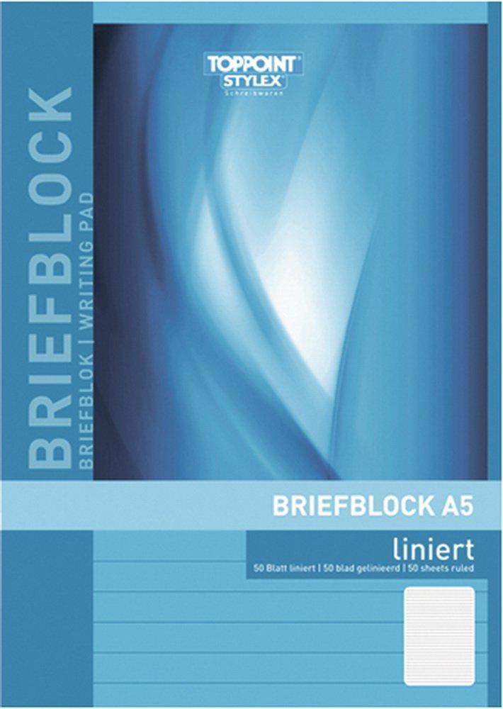 Toppoint Briefblock DIN A5 50 Blatt Liniert, 10 Stück 10 Stück NoName