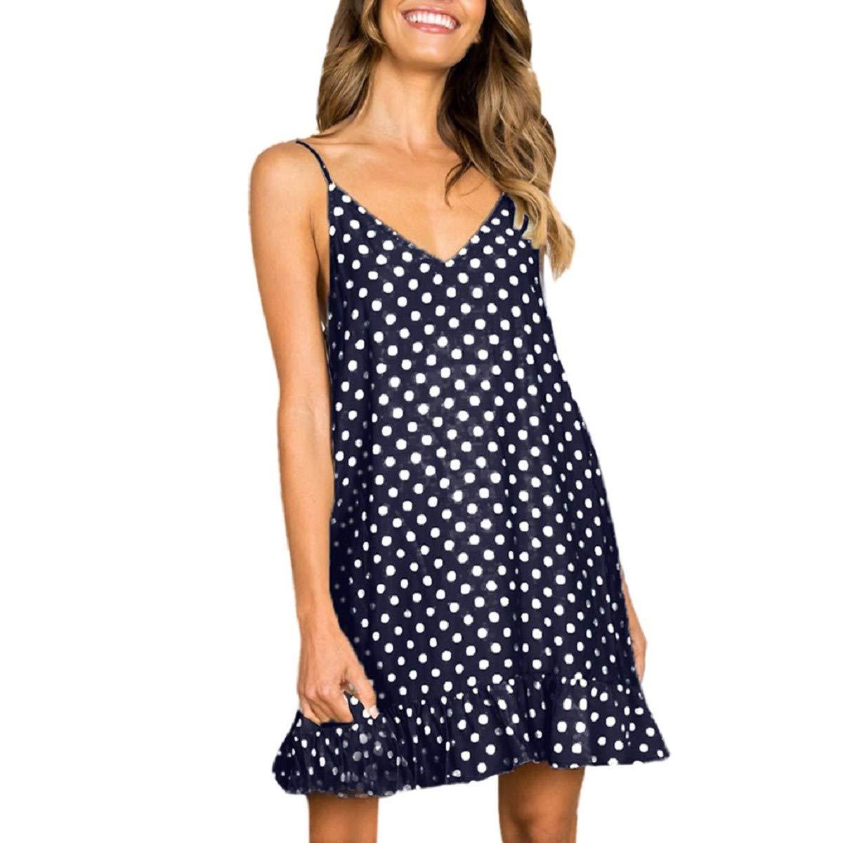 OTINICE Women's Summer Casual Sleeveless V-Neck Dot Printed Swing Dress Sleepwear Nightdress Dark Blue