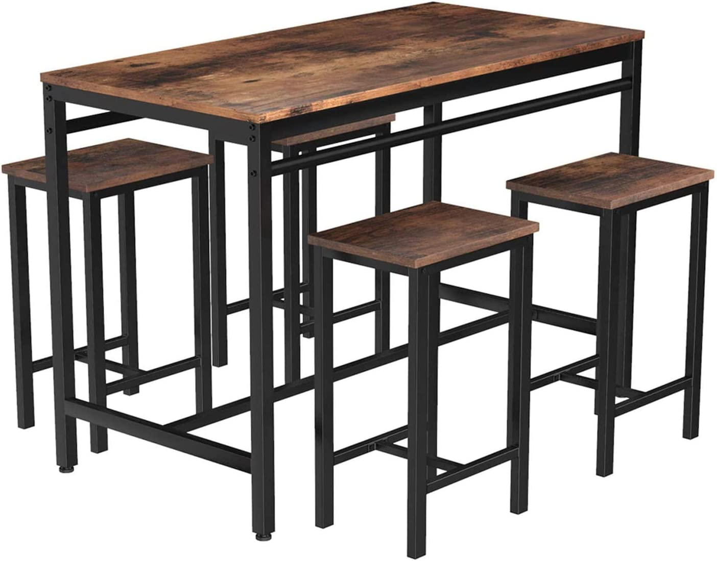 MIERES Dining Table Set for 4 Metal Legs Stools Industrial Kitchen Counter w/Adjustable Feet, Breakfast Nook Wood Tabletop of 47x 23.6 x 32.7, Small Space Table & Chairs, 5pcs, Rustic Brown