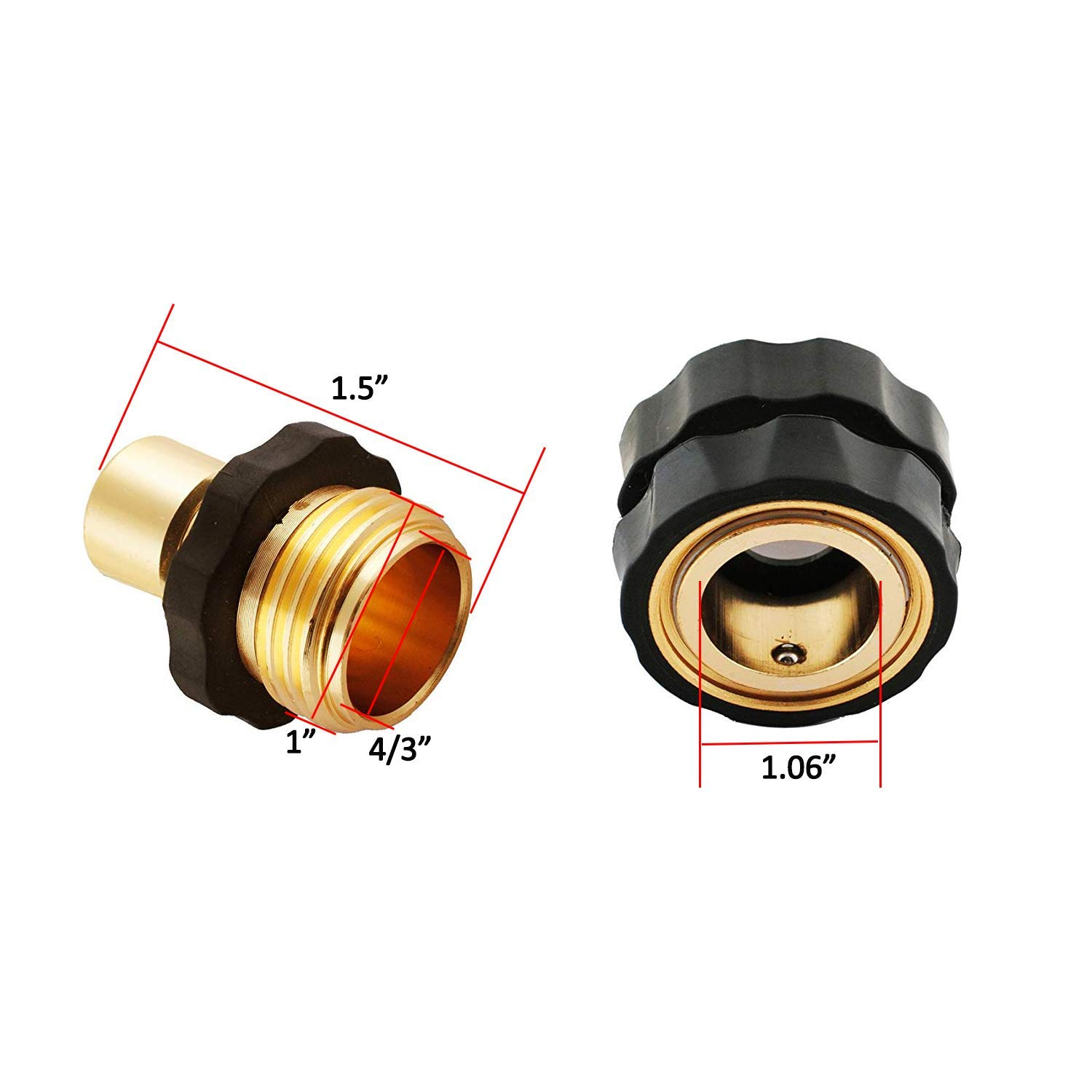 Water Hoses Quik Connect Release (3 Male Connects Wadoy Aluminum 3//4 Garden Hose Quick Connector 3 Female Connects)