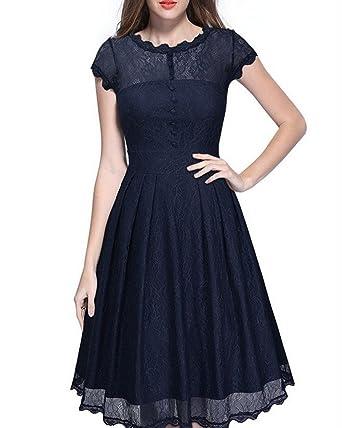 Whoinshop Damen Elegant Kleid Spitzenkleid Cocktailkleid Knielanges