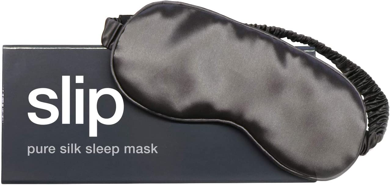 Slip Pure Silk Sleep Mask, Charcoal - Pure Mulberry 22 Momme Silk Eye Mask, Soft & Comfortable Sleeping Mask - Made with 'Anti-Aging Anti-Sleep Crease Anti-Bed Head' Slipsilk