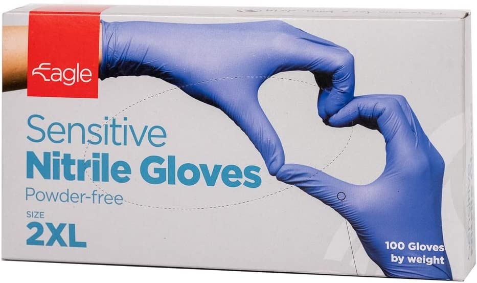 Eagle Protect Sensitive Nitrile Gloves Lightweight Food Prep Non Latex Gloves Disposable Tactile FDA Compliant Food Handling Powder Free Accelerator Free Textured Fingertip Indigo Box of 100 XX-Large