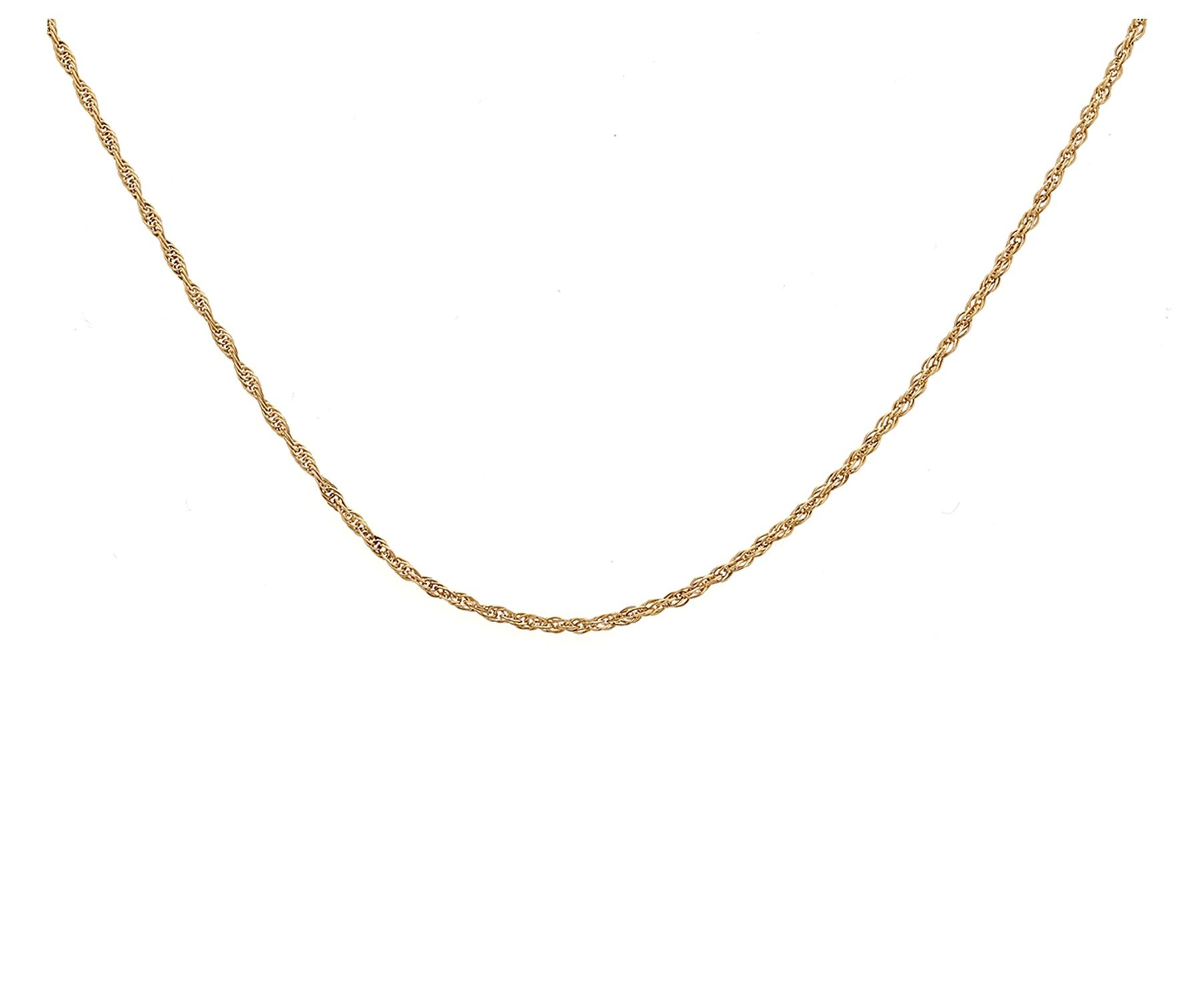 10K Solid Yellow Gold Diamond Cut Loose Rope Chain Necklace- 1MM thick all lengths available 15''-30'' (30)