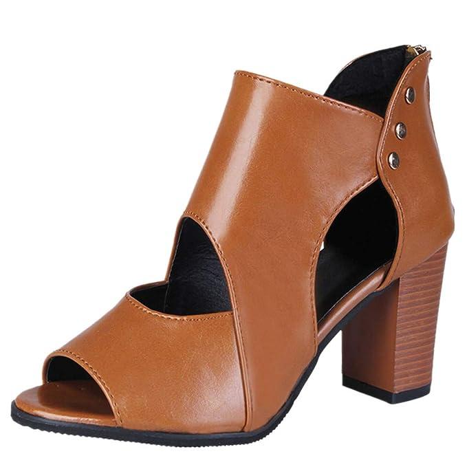 Dorical Sandalen Damenschuhe Sandaletten High Heel Peep Toe Kunstleder Kurze Stiefel Reißverschluss Sandalen & Sandaletten Einzelne Schuhe Elegant