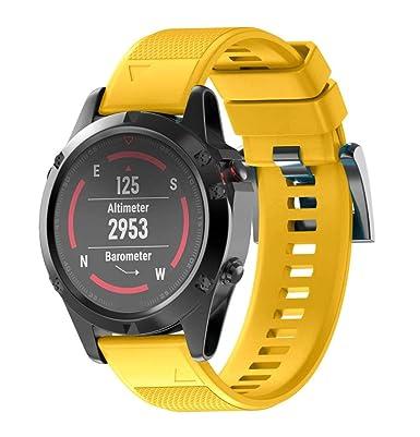 Bestow Garmin Fenix 5 Reloj GPS Silicagel de Instalacišn ršpida Band Strap Band Reloj Inteligente Electršnica Gadgets(Amarillo): Amazon.es: Ropa y ...
