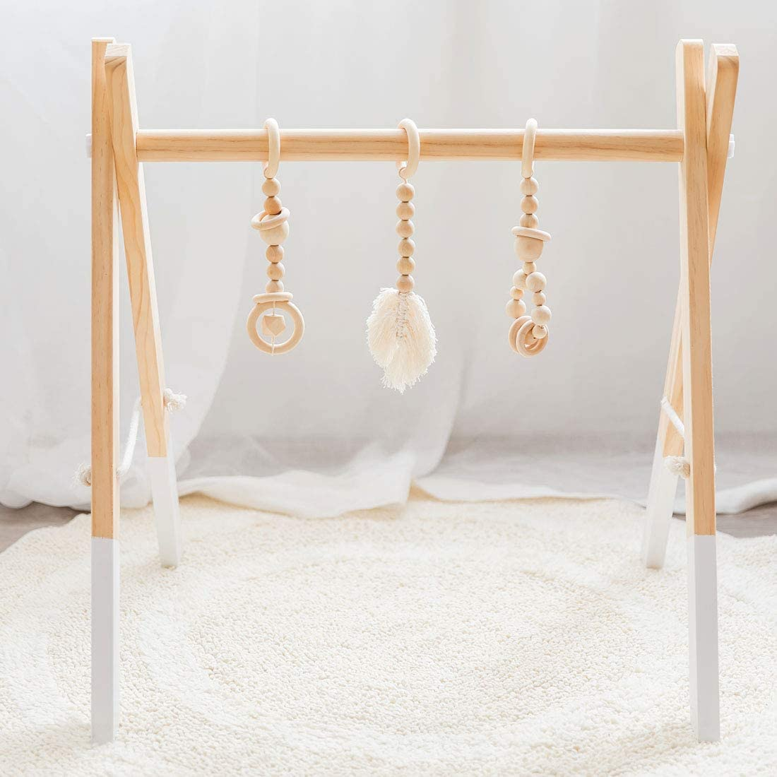 lets make Wood Baby Gym Toys Pendant 3 Piece Set Bed Hanging Baby Play Gym Educational Toys Baby Room Decoration Nordic Style Newborn Gift