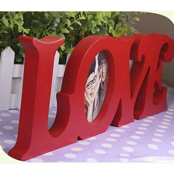 WINOMO 3 pulgadas portaretrato boda marco madera artesanal recorte monograma foto marco (rojo): Amazon.es: Hogar