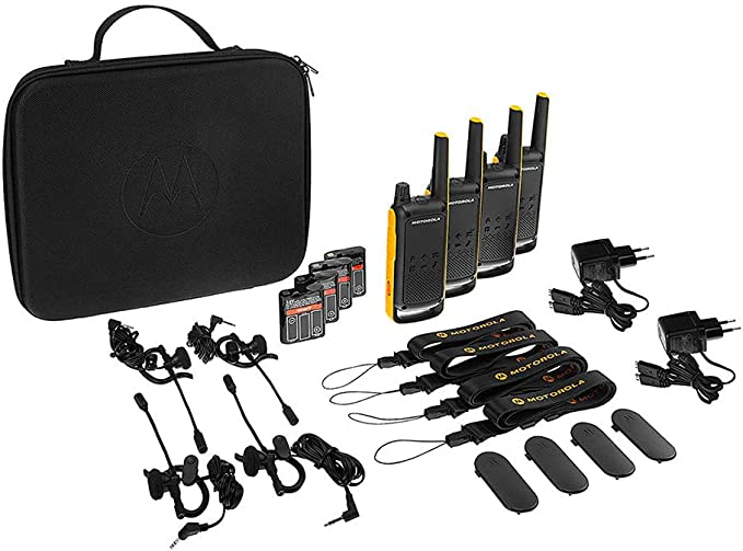 Motorola TALKABOUT T82 EXTREME QUAD PACK WE - Walkie Talkie, color negro y amarillo