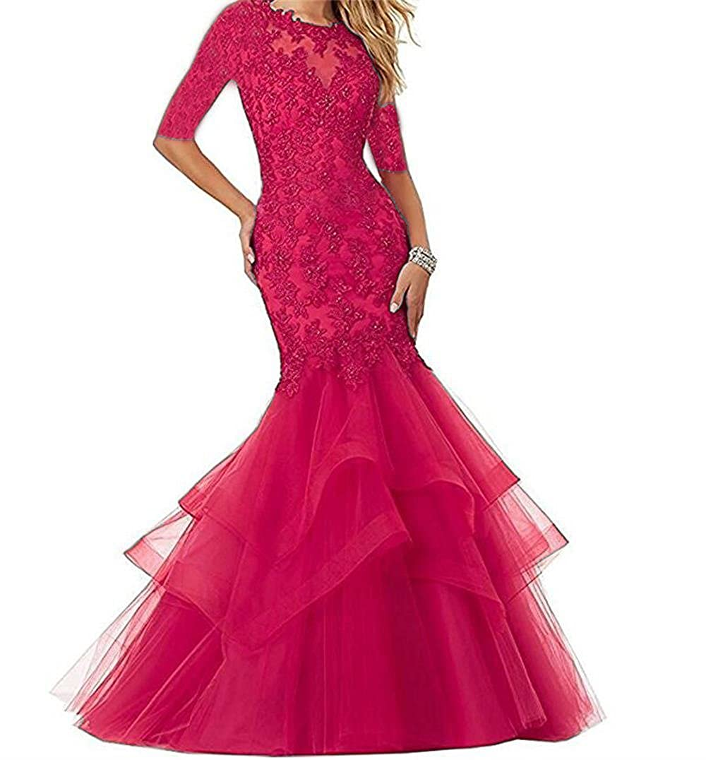 Pink Dydsz Women's Long Prom Evening Dresses with Sleeves Mermaid Formal Party Gowns D265