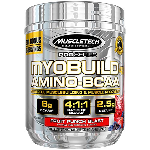 MuscleTech MyoBuild 4X Amino BCAA, Fruit Punch, 332 grams by MuscleTech