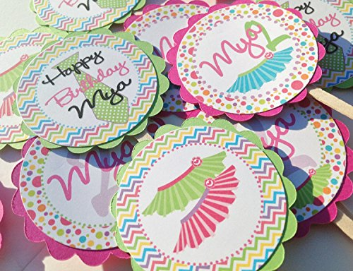12 - Cupcake Toppers - Tutus and Ties Happy Birthday Collection - Rainbow Chevron and Rainbow Polka Dots & Pink, Lavender, Lime, Orange, Turquoise and White Accents - Party Packs -