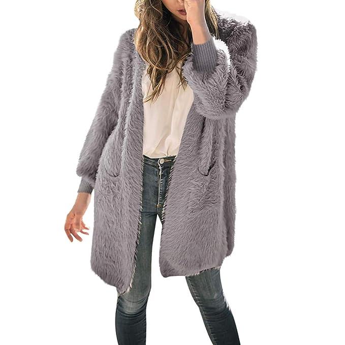 Overdose Abrigo de Mujer Chaqueta de Gran tamaño Abrigo Grueso cálido de Invierno Chaqueta de Bolsillo Grande de Color Puro Chaqueta de Punto Grande: ...