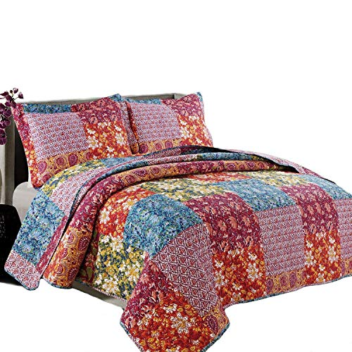 Coast to Coast Living 3-Pc Quilt Sets Luxurious Soft (Mosaic, Queen) (Quilts Colorful For Sale)