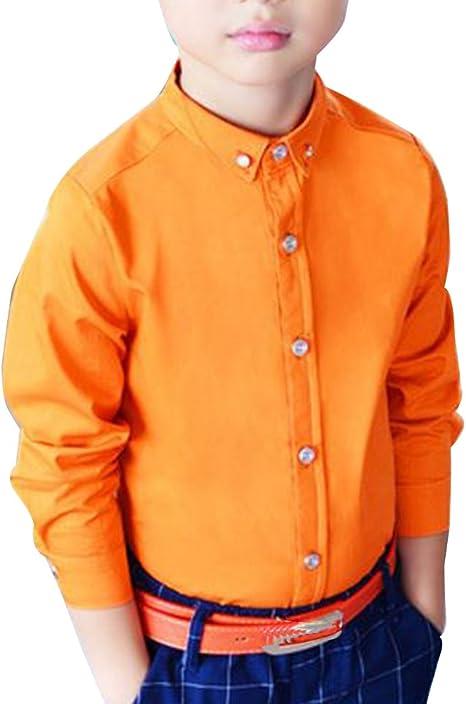 Camisa Manga Larga para Niños Formal Camisa Chico Fiesta Camisa Naranja: Amazon.es: Deportes y aire libre